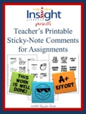 60 Teacher Sticky-Note Comments for Assignments Printable