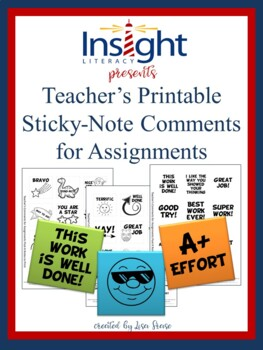 FREE Teacher Sticky Note Comments for Assignments