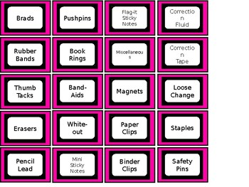 FREE Teacher Toolbox Labels - Pink