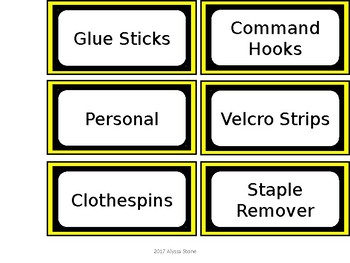 FREE Teacher Toolbox Labels - Yellow