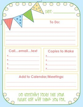 FREE Teacher's Daily To Do Sheet (Color and Black and Whit