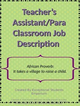 FREE Teacher's Assistant/Para Classroom Job Description