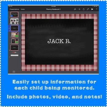 FREE TEACHER Fluency Notebook for the iPad