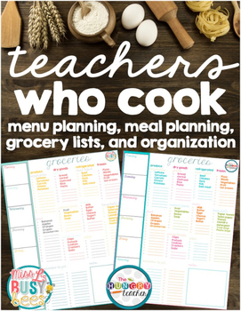 FREE Teachers Who Cook Menu, Meal, and Grocery Planning Resources