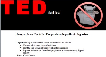 FREE Ted talk - The punishable perils of plagiarism, lesson plan and activities