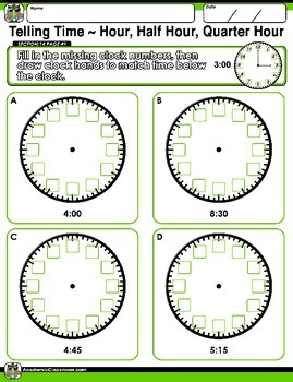 FREE Time Telling Practice Worksheets