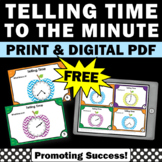 FREE Telling Time to the Minute Task Cards 2nd Grade Math