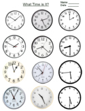 FREE - Telling Time on Clock Flashcards Worksheet (Grades K-3)
