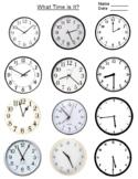 FREE - Telling Time on Clock Flashcards Worksheet  (K-3)
