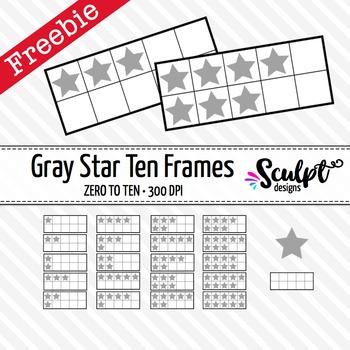 FREE! Ten Frames Clip Art ~ Gray Stars