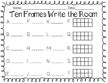 FREE - Ten Frames Write the Room