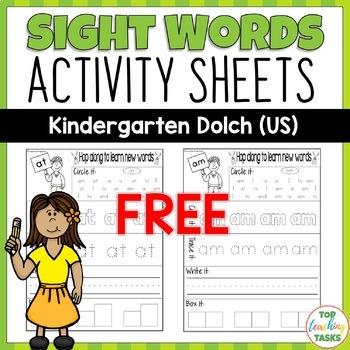 Free Kindergarten Sight Words Worksheets Teaching Resources Tpt - View Kindergarten Sight Words Worksheets Pdf Images