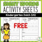 FREE Kindergarten Sight Word Worksheets