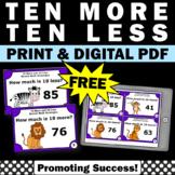 FREE Ten More Ten Less Game, 1st Grade Math Review, Mental Math Strategies