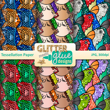 MC Escher Tessellation Paper | Scrapbook Backgrounds for Task Cards & Brag Tags