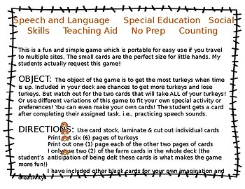 FREE Thankful Turkey Card Game - Open Ended