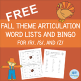 FREE Thanksgiving - Fall - Autumn Articulation - S/Z/R Speech Therapy