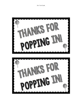 "FREE ""Thanks for POPPING in!"" Gift Tag"