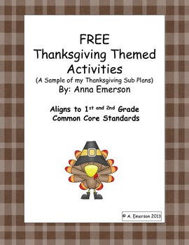 FREE Thanksgiving Activities - A sample of Emergency Sub Plans: Thanksgiving