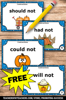 FREE Thanksgiving Grammar ELA Contractions Task Cards Games & Activities