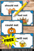 FREE Thanksgiving Literacy Centers, Contraction Task Cards, Grammar Games