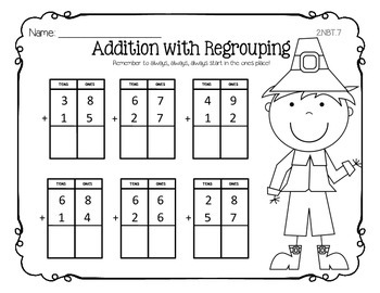 FREE Thanksgiving Addition with Regrouping Practice Sheet
