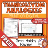 Thanksgiving Analogies Worksheet Print and Easel Activities FREE