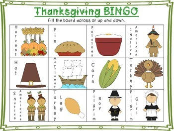 FREE Thanksgiving Bingo!