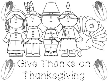 FREE Thanksgiving Coloring and Tracing Activity