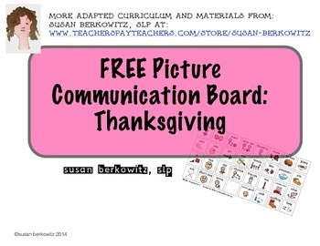 FREE Thanksgiving Communication Board for AAC Users