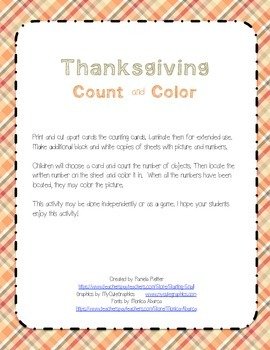 FREE Count and Color Thanksgiving
