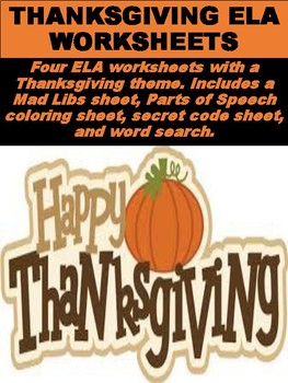 FREE Thanksgiving ELA Worksheets
