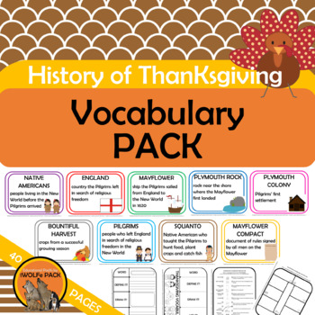 HISTORY OF THANKSGIVING FACT PACK {reading passages, writing, rebus, vocab+}