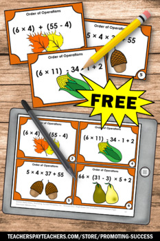 FREE Thanksgiving Math Activities Games ORDER OF OPERATIONS Task Cards