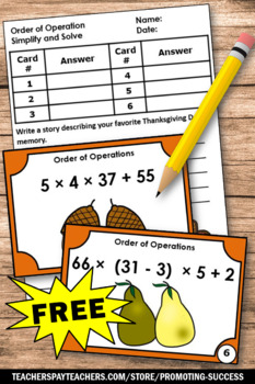 FREE Thanksgiving Math Activities 5th Grade ORDER OF OPERATIONS Task Cards