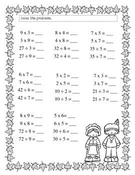 FREE Thanksgiving Math Printables by Teaching Naturally | TpT