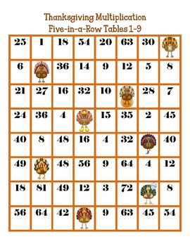FREE Thanksgiving Multiplication Five-in-a-Row Tables 1-9