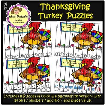 FREE Thanksgiving Puzzles - Freebie (School Designhcf)