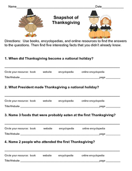 FREE! Thanksgiving Research Scavenger Hunt