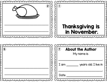 FREE Thanksgiving Sentence Writing Booklets