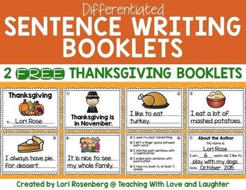 FREE Thanksgiving Sentence Writing Booklets