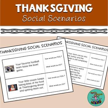 FREE Thanksgiving Social Scenarios, Speech Therapy, Social Skills, Pragmatics