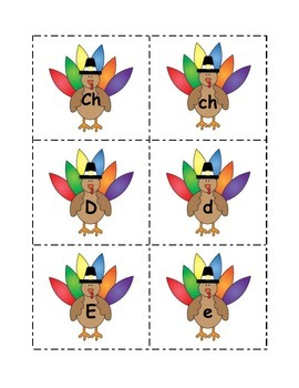 FREE Thanksgiving Spanish Uppercase and Lowercase Alphabet Sort