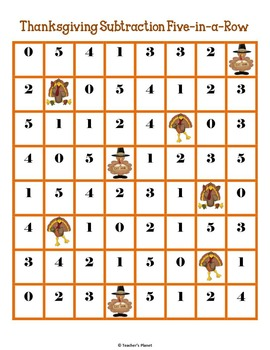 FREE Thanksgiving Subtraction 5-in-a-Row!