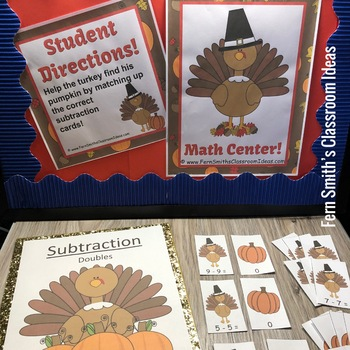 Thanksgiving Subtraction Doubles Center Game with Interactive Notebook Freebie