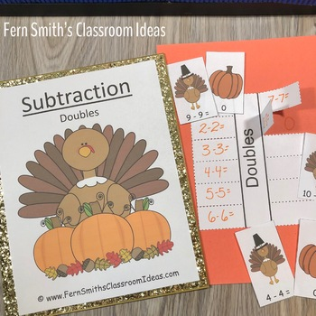 Thanksgiving Center Game for Subtraction Doubles Freebie