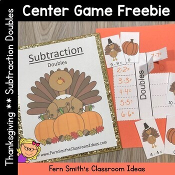 Free Thanksgiving Subtraction Doubles Center Game with Int