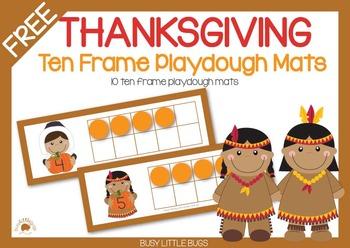 FREE - Thanksgiving Ten Frame Playdough Mats