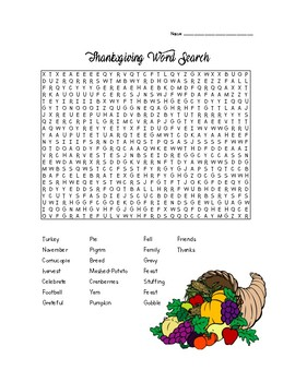 FREE Thanksgiving Themed Word Search!!
