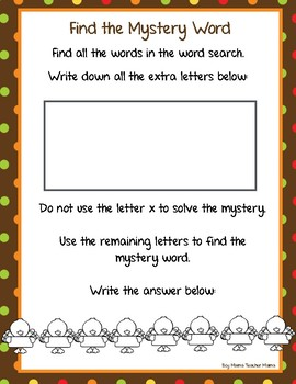 FREE Thanksgiving Word Search